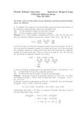 Midterm Exam Solution on Probability and Statistics 1