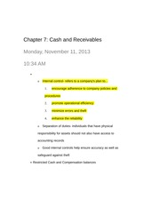 Chapter 7- Cash and receivables