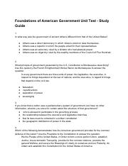American Government 2018 - Study Guide - Foundations of American Government Unit Test1.pdf