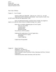 The Value of Money Final Exam Study Guide