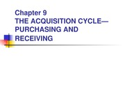 Chapter 9-The Acquisition Cycle (Purchasing & Receiving(