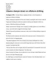 Obama clamps down on offshore drilling