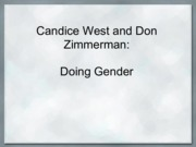 0112 West and Zimmerman - Doing Gender - Class Notes