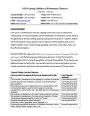 Syllabus of CHN 1014 of UTSA
