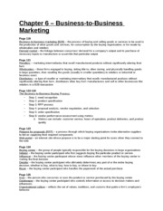 Study Guide - Chapter 6 - Business-to-Business Marketing