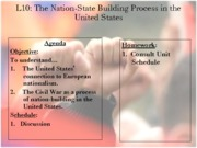 Making of the Modern Nation-State Unit 2012-2013 - Lesson 10 - The United States