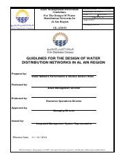 GUID LINES FOR THE DESIGN OF WATER DISTRIBUTION NETWORKS IN AL AIN REGION