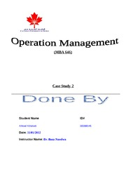operation Management case 2 - Ahmed