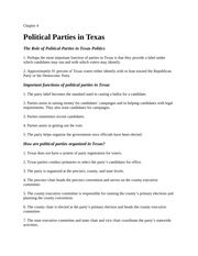 Lecture Notes- Ch 4 Political Parties in Texas