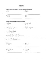 Homework Packet Chapter 8