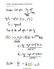 Notes on Greeks - Sensitivity Analysis of Calls and Puts (1)