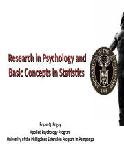 Research in Psychology and Basic Concepts in Statistics