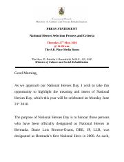 1276343456Press Statement - National Heroes Selection Process and Criteria 220510