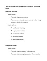 Typical Cash Receipts and Payments Classified by Activity Notes