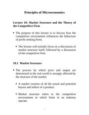 Lecture 10: Market Structure & Theory of the Competitive Firm Econ 1150