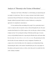 Threnody to the Victims of Hiroshima, the final reflection paper