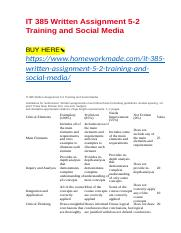 IT 385 Written Assignment 5-2 Training and Social Media.docx