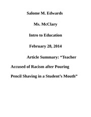 "Article Summary: ""Teacher Accused of Racism after Pouring Pencil Shaving in a Student's Mouth"""