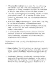 Three types of financial investment