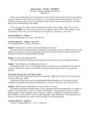 SOC2014, Spring 2015, Jill Kiecolt Exam 2 Review Sheet- Ch. 7 Choosing A life Partner, Ch. 8 Civil U