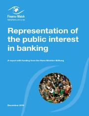 Representation of the Public Interest in Banking - A Finance Watch Report - 2016