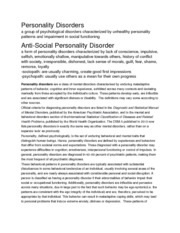 Personality Disorders Notes