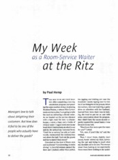 My Week as a Room Service Waiter at the Ritz