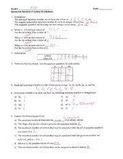 Quantum Number Practice Worksheet - Key -
