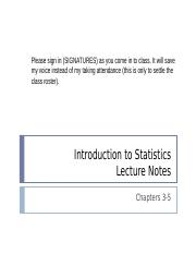 Introduction to Statistics - Chapter 3-5 Notes