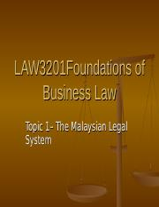 Topic 1 - Malaysian Legal System