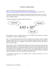 WorkSheet-ScientificNotation