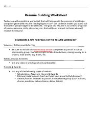 Handout 2 Resume Building Worksheet Pdf 1 Page R U00e9sum U00e9