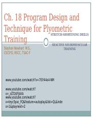 TEST 2-Ch. 18 Program Design and Technique for Plyometric Training