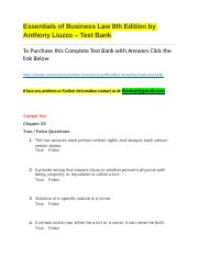 Essentials of Business Law 8th Edition by Anthony Liuzzo – Test Bank.docx