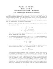 Gravitational Redshift Solutions
