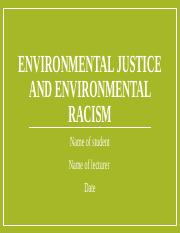 Environmental justice and environmental racism