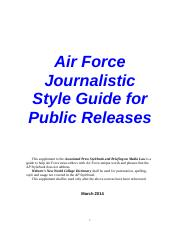 Air Force Journalistic Style Guide - 27 March 2014
