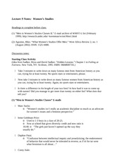 Lecture 9 Notes Women's Studies
