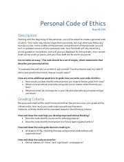 Personal Code of Ethics 2nd Draft .pdf