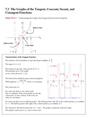 7.3 The Graphs of the Tangent, Cosecant, Secant, and Cotangent Functions