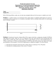 Final Exam Solution 2010 on Prestressed Concrete Design