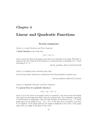 Linear and Quadratic Functions Notes and Examples