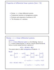 Properties of differential linear systems
