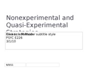 Nonexperimental and quasi experimental design 3.1