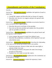 Amendments and Articles of the Constitution.docx