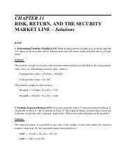 CHAPTER 13 Solutions - CHAPTER 13 RISK RETURN AND THE