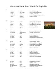 Root Word Master List