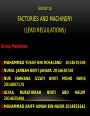 FACTORIES AND MACHINERY (LEAD) REGULATIONS