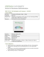 MKT 315 Syllabus - Fall 2013