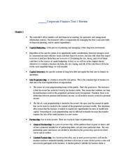 Corporate Finance Test 1 Review
